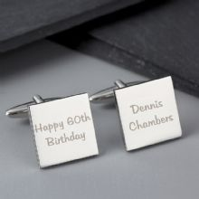 Personalised Any Message Square Cufflinks - 2 lines P0102G09